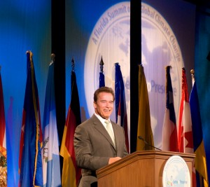 California Governor Arnold Schwarzenegger was a keynote speaker during Governor Crist's Climate Change Conference in Miami. During his speech, Schwarzenegger encouraged Americans to use transportation fuel more efficiently to combat high gasoline prices.