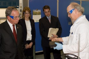 Mayor of the City of New York, Michael Bloomberg (left), First Deputy Mayor, Patricia Harris, and Director of Advanced Operations, Michael Hopper, listen as FSEC Senior Research Scientist, Clovis Linkous, explains how a fuel cell works and points out the challenges this technology faces as an alternative fuel for transportation.