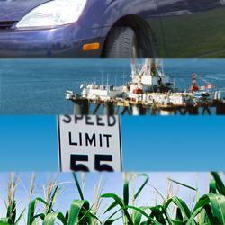Fuel price reduction by energy-efficient vehicles, oil drilling, speed limits, or ethanol?