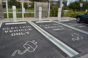 Photograph of electric vehicle only parking