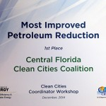 Most Improved Petroleum Reduction certificate to Central Florida Clean Cities Coalition from U.S. Dept of Energy