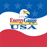 EnergyGauge USA logo with eagle head on top of red, white, and blue-starred background.