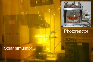 Photo of experiment behind yellow plastic curtain.