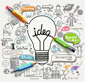 "Illustration of light bulb with ""idea"" written as the filament, doodles all around light bulb, and three pencils in yellow, green and blue with the words creative, knowledge, education"