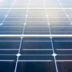 Close up view of photovoltaic panels