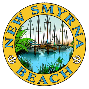 New Smyrna Beach seal. In center of seal are boats without sails sitting in water, with palm leaves on edges.