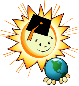 EnergyWhiz sun logo holding Earth in it's hands.