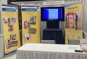 FSEC and EnspectorPro pop-up displays and television displayed at Southeast Builders Conference in Orlando.